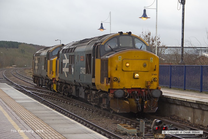 190207-001  Direct Rail Services class 37's No's 37403 Isle of Mull and 37407 are seen at Shirebrook, running as 0Z37, 09:00 Derby RTC - Shirebrook, W.H. Davis.