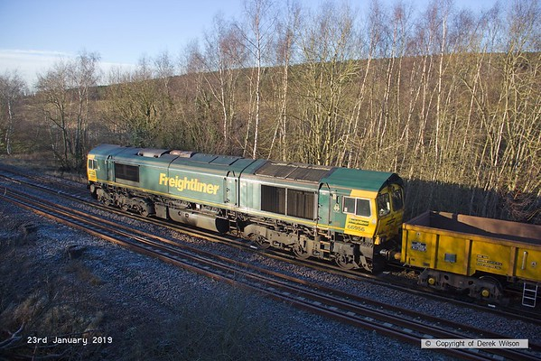 190123-034  Freightliner class 66/9 No. 66956 is seen nearing Boughton Junction, on the High Marnham Test Track, bringing up the rear of 6X08, 10:30 Toton North Yard - High Marnham (VSTP).