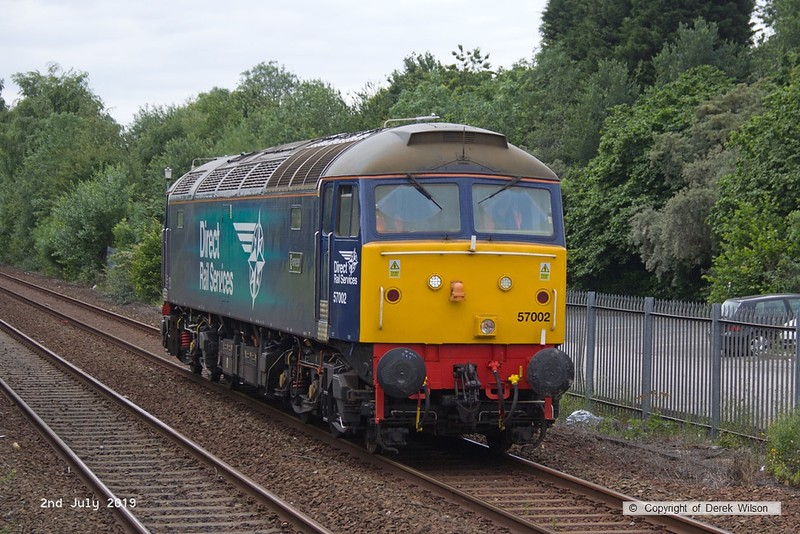 190702-001  Direct Rail Services class 57 No. 57002 is seen passing Tenter Lane, Mansfield, running 'light' as 0Z57, 12:10 Derby RTC - Shirebrook, WH Davis.