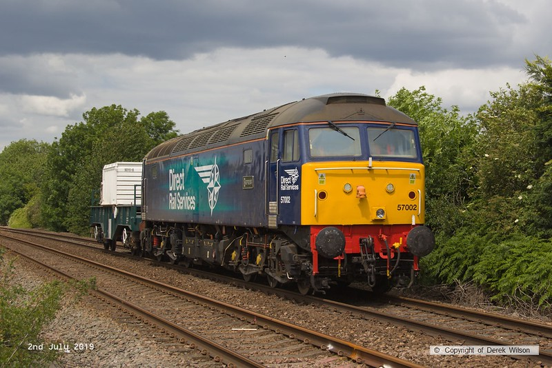 190702-005  Direct Rail Services class 57 No. 57002 is seen passing Vale Road, Mansfield Woodhouse with one FNA nuclear flask wagon in tow, running as 6Z57, 14:40 Shirebrook, WH Davis - Crewe Coal Sidings.