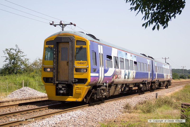 190629-010  Northern class 158 unit No. 158907 oassing Rushey Sidings, Retford, with 1L60, the 12:29 Lincoln - Leeds.