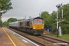 190612-005  GB Railfreight class 66/7 No. 66762 speeds through Creswell with train 4D91, 17:16 Shirebrook, WH Davis - Doncaster Down Decoy.  In tow are four modified (cut & shut) hoppers, these were redundant coal hoppers and have been reduced in size for further use in the aggregate sector.