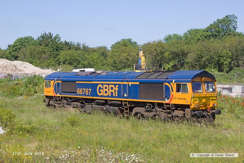 190627-019  GB Railfreight class 66/7 No. 66767 is seen on Davis's exchange siding.