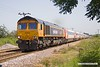 190629-006  GB Railfreight class 66/7 No. 66725 Sunderland is captured passing Rushey Sidings, Retford with 5Z91, 09:00 Bounds Green T.& R.S.M.D. - Worksop Down Reception. In tow is East Coast off lease mark 4 stock, 12219, 12447, 12425, 12403, 12319, 10328, 11293, 11324, 11424 & DVT 82229