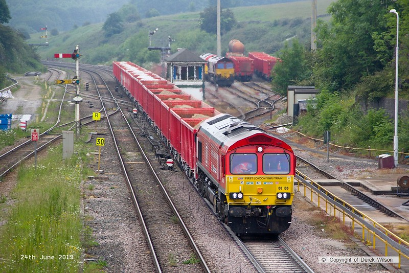 190624-022  DB Cargo class 66 No. 66136 is captured passing through Peak Forest, powering train 6V11, 10:00 Briggs sidings - Theale.