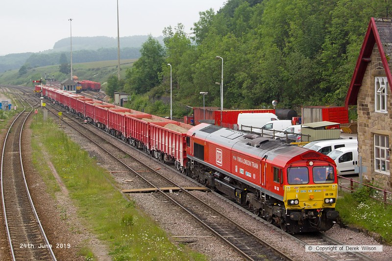 190624-027  DB Cargo class 66 No. 66136 is captured passing through Peak Forest, powering train 6V11, 10:00 Briggs sidings - Theale.