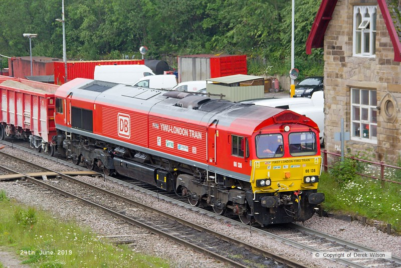 190624-028  DB Cargo class 66 No. 66136 is captured passing through Peak Forest, powering train 6V11, 10:00 Briggs sidings - Theale.