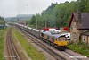 190624-019  GB Railfreight class 66/7 No. 66753 EMD Roberts Road leaving Peak Forest with 6J56, 09:54 Peak Forest- Hope St Peakstone  P. sidings. This ran to a STP schedule, running about an hour later than the usual path, to allow the loco time to do some shunting in the Cemex sidings.