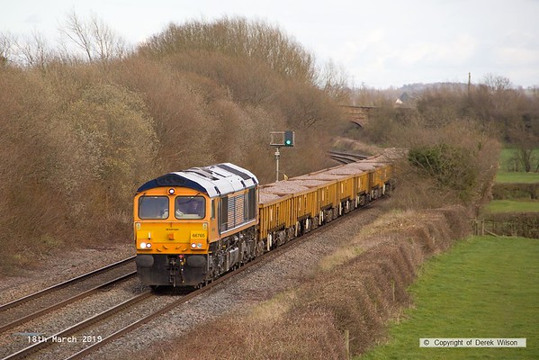 190318-032  GB Railfreight class 66/7 No. 66765 is captured passing Barrow upon Trent, powering train 6K50, 15:13 Toton North Yard - Crewe Basford Hall S.S.N..