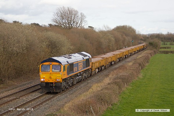 190318-036  GB Railfreight class 66/7 No. 66765 is captured passing Barrow upon Trent, powering train 6K50, 15:13 Toton North Yard - Crewe Basford Hall S.S.N..
