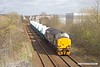 190314-008  Direct Rail Services class 37 No. 37423 Spirit of the Lakes captured passing Tenter Lane, Mansfield, powering train 6Z37, 12:06 Shirebrook, WH Davis - Crewe Coal Sidings. In tow are eight new nuclear flask wagons, type FNA, the last of a order for 24 of these.