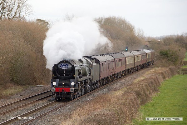 190318-027  Bulleid  Merchant Navy 4-6-2 No. 35018 British India Line is captured passing Barrow upon Trent, powering train 5Z70, 10:57 Kings Lynn T.C. - Carnforth, Steamtown.  This had worked a private charter the previous day & is seen returning to base with the empty stock.