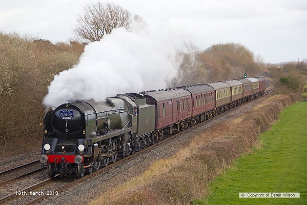 190318-030  Bulleid  Merchant Navy 4-6-2 No. 35018 British India Line is captured passing Barrow upon Trent, powering train 5Z70, 10:57 Kings Lynn T.C. - Carnforth, Steamtown.  This had worked a private charter the previous day & is seen returning to base with the empty stock.
