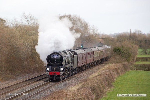 190318-025  Bulleid  Merchant Navy 4-6-2 No. 35018 British India Line is captured passing Barrow upon Trent, powering train 5Z70, 10:57 Kings Lynn T.C. - Carnforth, Steamtown.  This had worked a private charter the previous day & is seen returning to base with the empty stock.