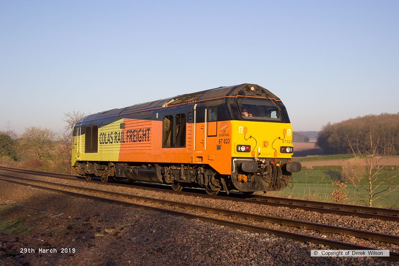 190329-004  Colas Rail Freight class 67 No. 67023 Stella is seen passing Clipstone, running as 0Z10, 05:50 Derby RTC - High Marnham. The loco was visiting the test track for detonator testing.