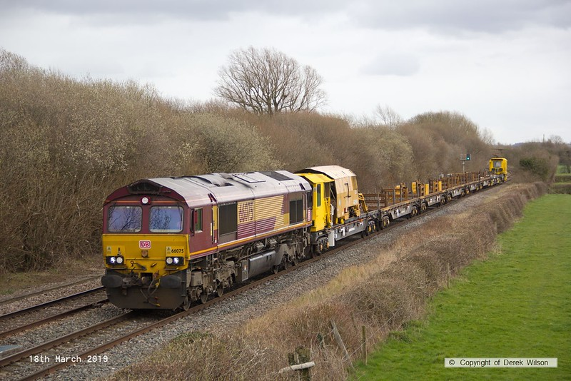 190318-012  DB Cargo class 66/0 No. 66075 is captured passing Barrow upon Trent, powering train 6X01, 10:17 Scunthorpe Trent T.C. - Eastleigh East Yard.