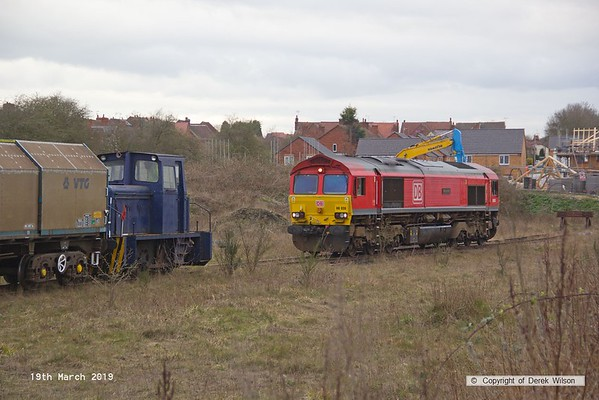190319-013  DB Cargo class 66/0 No. 66035 Resourceful waits near the end of Davis's transfer siding, whils Barclay diesel shunter transfers JSA wagons from the end of the branch, and into Davis's yard. This was done three at a time, with 66035 dragging the remaining wagons forward to the end of the branch each time, then retreating back to the end of the branch.