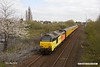 190410-005  Test train, 1Q08, 09:43 Derby RTC - Derby RTC is captured speeding past Tenter Lane, Mansfield, powered 'top & tail' by Colas class 67's No's 67027 Charlotte & 67023 Stella. This went as far as Woodend Junction, then back to Shirebrook and down the branch through to High Marnham. It then ran back to Woodend Junction before returning to the test centre.