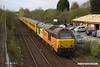 190410-002  Test train, 1Q08 09:43 Derby RTC - Derby RTC is captured speeding past Tenter Lane, Mansfield, powered 'top & tail' by Colas class 67's No's 67027 Charlotte & 67023 Stella. This went as far as Woodend Junction, then back to Shirebrook and down the branch through to High Marnham. It then ran back to Woodend Junction before returning to the test centre.