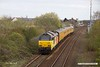 190410-007  Test train, 1Q08, 09:43 Derby RTC - Derby RTC is captured speeding past Tenter Lane, Mansfield, powered 'top & tail' by Colas class 67's No's 67027 Charlotte & 67023 Stella. This went as far as Woodend Junction, then back to Shirebrook and down the branch through to High Marnham. It then ran back to Woodend Junction before returning to the test centre.