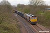 190402-002  GB Railfreight class 66/7 No. 66767, seen from the new footbridge that replaces King's Mill crossing, powering train 6E89, 10:10 Wellingborough - Rylstone.