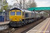 190403-007  GB Railfreight class 66/7 No. 66744 Crossrail propelling back through Shirebrook station with nine redundant coal hoppers, running as 4D90, 10:45 Doncaster Down Decoy - Shirebrook, WH Davis.