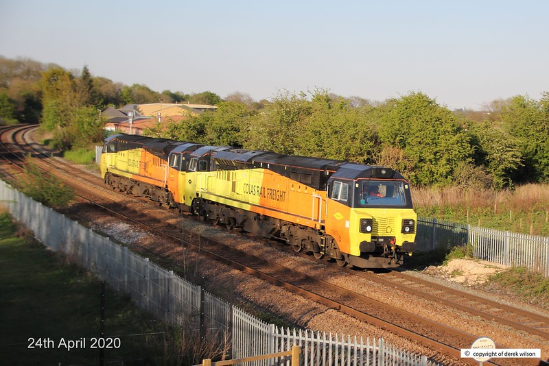 200424-006  Colas Rail Freight class 70's No's 70813 & 70805 are captured passing the new equestrian bridge at Sutton reservoir, running ;light' as 0C22, Doncaster C.H.S - Hinksey sidings. This is the first time that a Colas class 70 has traversed this section of line, other than a overnight engineering train which ran about a fortnight earlier.