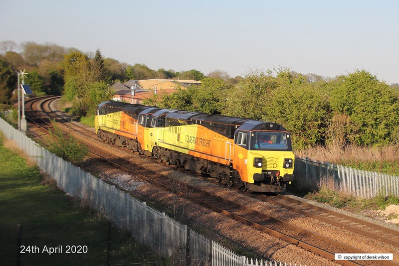 200424-004  Colas Rail Freight class 70's No's 70813 & 70805 are captured passing the new equestrian bridge at Sutton reservoir, running ;light' as 0C22, Doncaster C.H.S - Hinksey sidings. This is the first time that a Colas class 70 has traversed this section of line, other than a overnight engineering train which ran about a fortnight earlier.