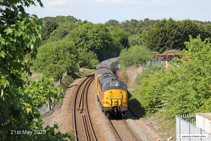 200521-013  Colas Rail Freight class 37 No. 37219 Jonty Jarvis is captured leading test train 3Q93, 08:53 Derby R.T.C. - Derby R.T.C. 19:30. Seen passing Kirkby Summit on the Robin Hood Line.