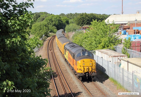 200521-015  Colas Rail Freight class 37 No. 37219 Jonty Jarvis is captured leading test train 3Q93, 08:53 Derby R.T.C. - Derby R.T.C. 19:30. Seen passing Kirkby Summit on the Robin Hood Line.