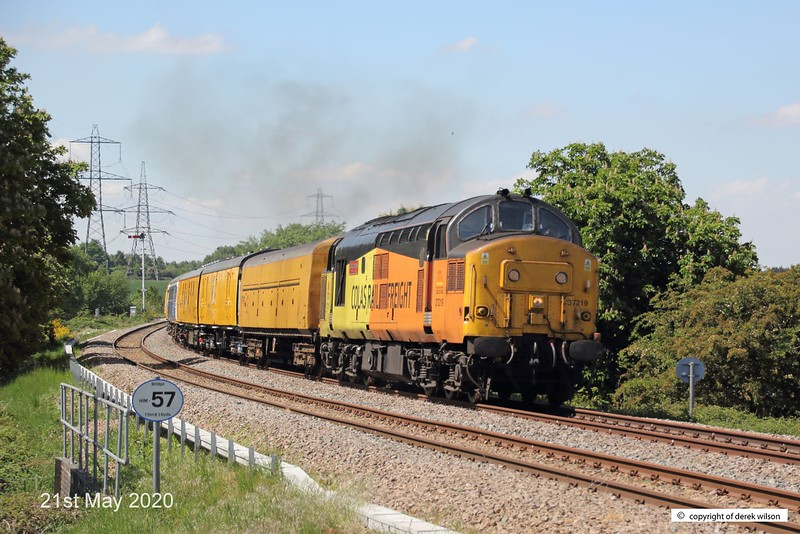 200521-004  Colas Rail Freight class 37 No. 37219 Jonty Jarvis is captured leading test train 3Q93, 08:53 Derby R.T.C. - Derby R.T.C. 19:30. Seen passing the former Clipstone Junctions, on it's way to High Marnham.