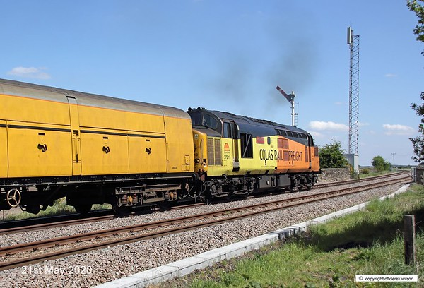 200521-007  Colas Rail Freight class 37 No. 37219 Jonty Jarvis is captured leading test train 3Q93, 08:53 Derby R.T.C. - Derby R.T.C. 19:30. Seen passing the former Clipstone Junctions, on it's way to High Marnham.