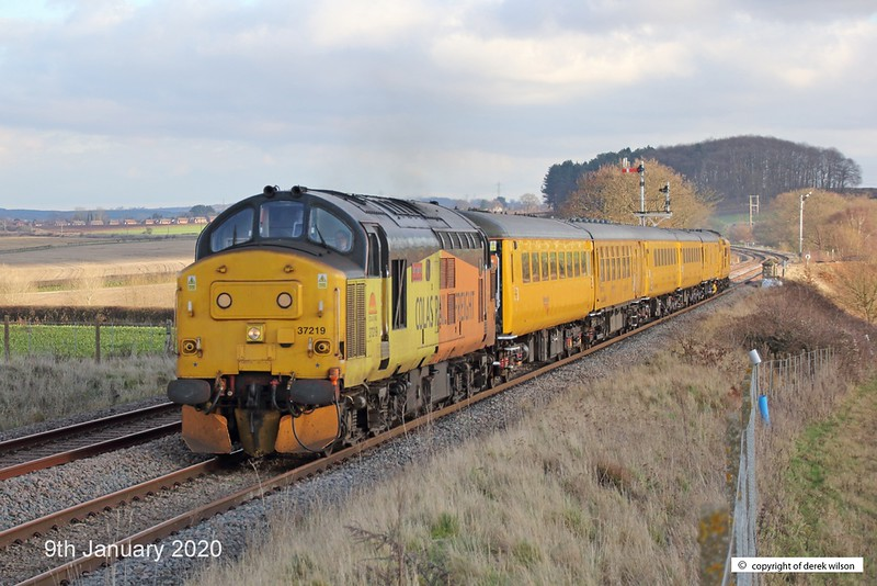 200109-009  Colas class 37 No. 37219 Jonty Jarvis is captured passing Clipstone West Junction, top & tail a test train with Network Rail's class 97 No. 97302, This has been to the test track for calibrating and is heading back to the test centre as 3Z11, 15:00 High Marnham - Derby R.T.C..
