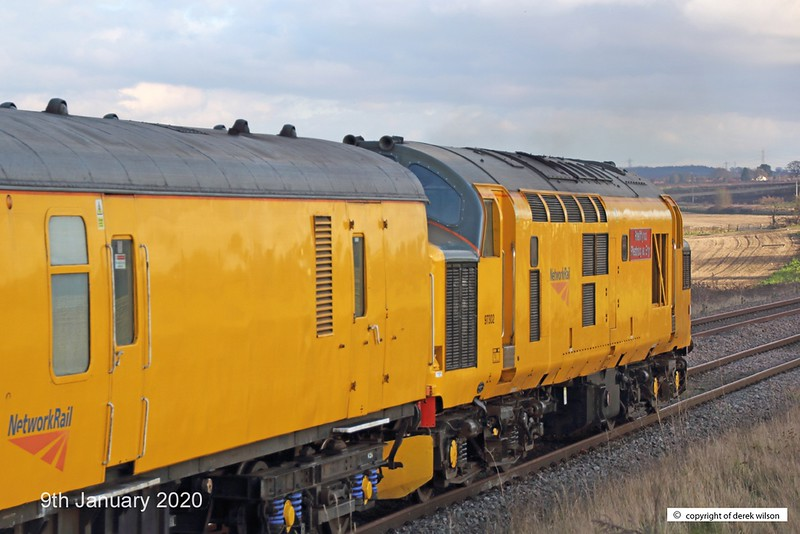200109-011  Network Rail class 97 No. 97302 is seen passing Clipstone, at the rear of test train 3Z11, 15:00 High Marnham - Derby R.T.C.