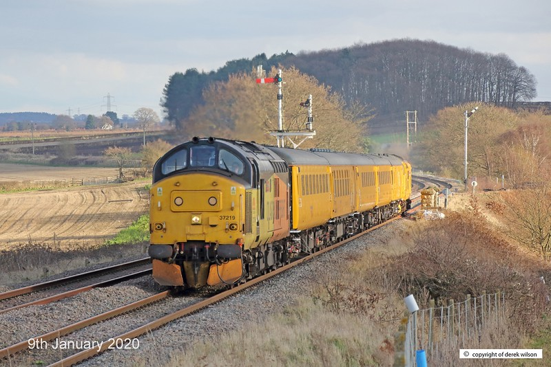 200109-005  Colas class 37 No. 37219 Jonty Jarvis is captured passing Clipstone West Junction, top & tail a test train with Network Rail's class 97 No. 97302, This has been to the test track for calibrating and is heading back to the test centre as 3Z11, 15:00 High Marnham - Derby R.T.C..