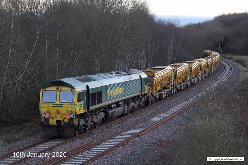 200110-007  Freightliner class 66/5 No. 66551 is seen at the rear of 6Y37, 01:53 Tyne S.S. - High Marnham as it trundles towards Boughton Junction with a High Output Ballast Cleaner, on the High Marnham Test Track.