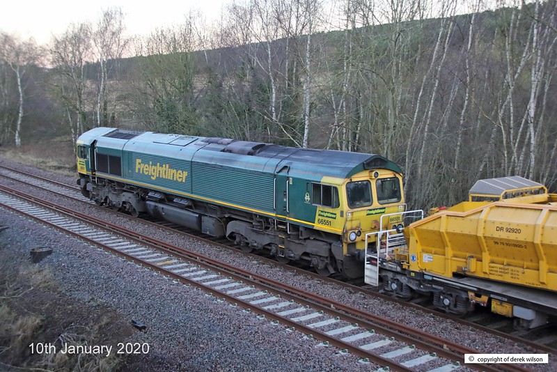 200110-006  Freightliner class 66/5 No. 66551 is seen at the rear of 6Y37, 01:53 Tyne S.S. - High Marnham as it trundles towards Boughton Junction with a High Output Ballast Cleaner, on the High Marnham Test Track.