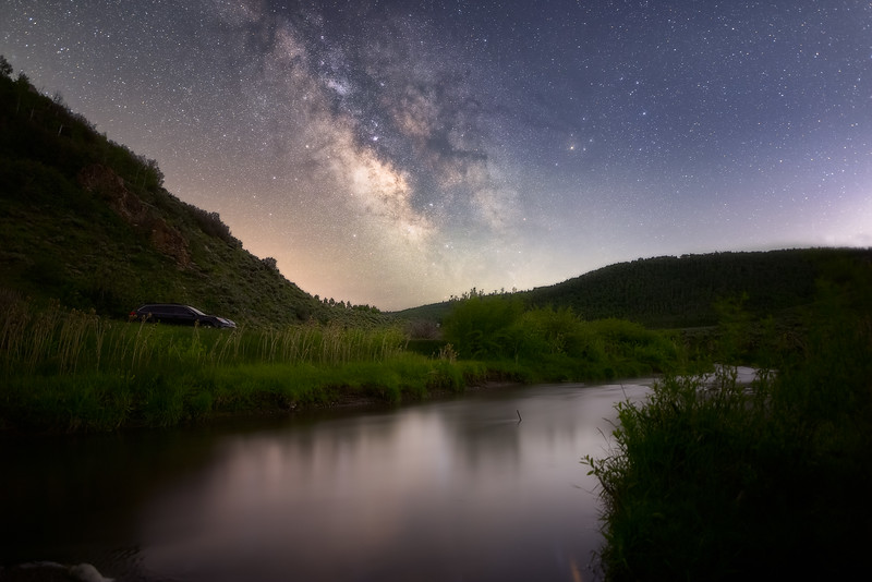 Parking by a Stream under the Milky Way