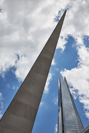 Geometric shapes of Needle sculpture detail and The Shard tower, London
