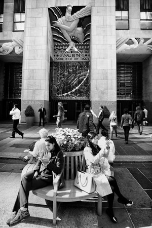 A moment in time on Rockefeller Plaza, New York