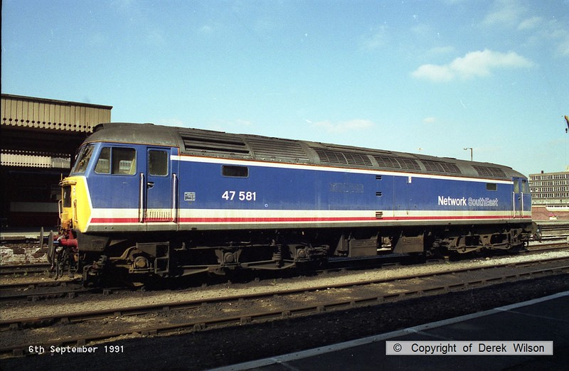 910906-001     Network SouthEast liveried class 47 no 47581 stabled at Sheffield.