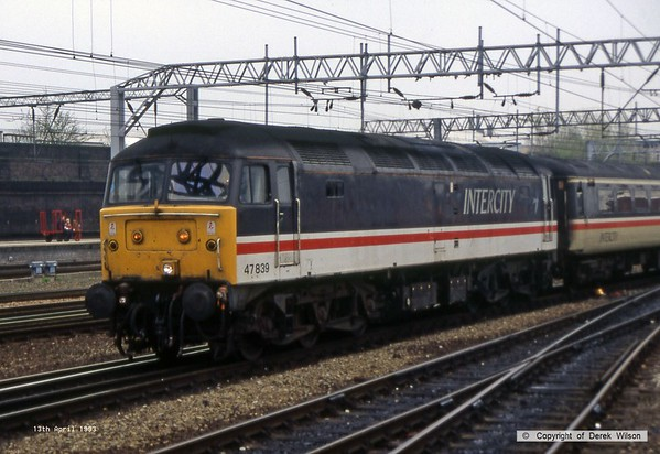 930413-001     BR Intercity class 47 no 47839 is seen arriving at Crewe with a northbound express.