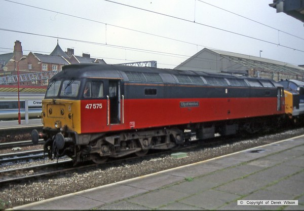 930413-002     BR Parcels sector class 47/4 no 47575 City of Hereford is seen stabled, at Crewe.