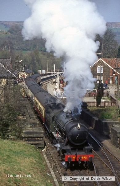 930415-002     WD 2-10-0 no 3672 Dame Vera Lynne is captured pulling away from Grosmont on the North York Moors Railway.