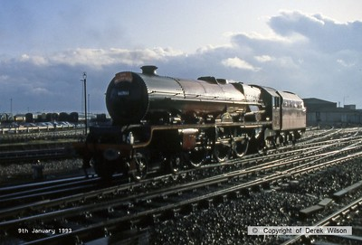 930109-005     LMS Coronation 4-6-2 no 46203 Princess Margaret Rose is seen at Derby after arriving with a charter from Tyseley. Captured straight after a heavy downpour, the wet rails lit up very nicely.