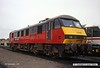 930905-003  RES (Rail Express Systems) class 90 No 90019 Penny Black, on show at the Worksop open day.