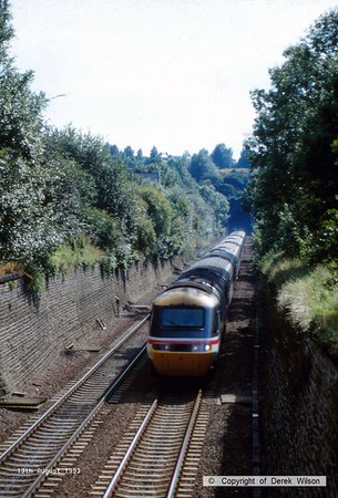 930813-001  A unidentified HST exits Clay Cross tunnel with a London St Pancras - Sheffield service.