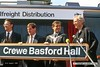 940821-055  Naming ceremony of class 90 No. 90135 at Crewe Basford Hall, with Pete Waterman on the right.