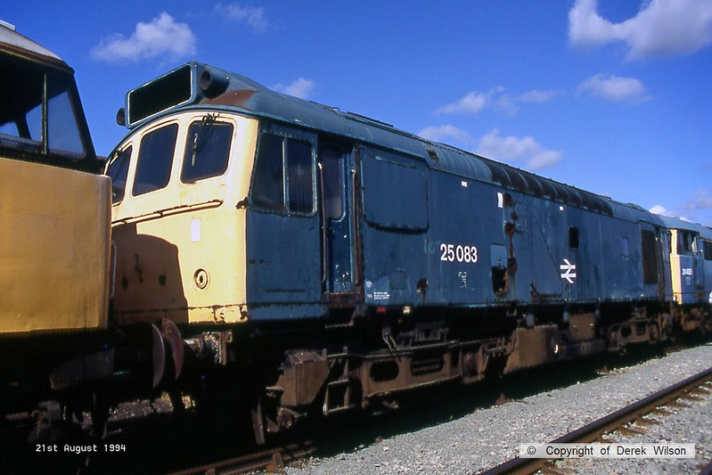 940821-041  BR type 2, class 25 No. 25083, one of a long line of stored loco's at Basford Hall, seen at the Crewe Railfair event. Built at Derby Works and was new to traffic in December 1963, renumbered 25083 on 1st January 1973.