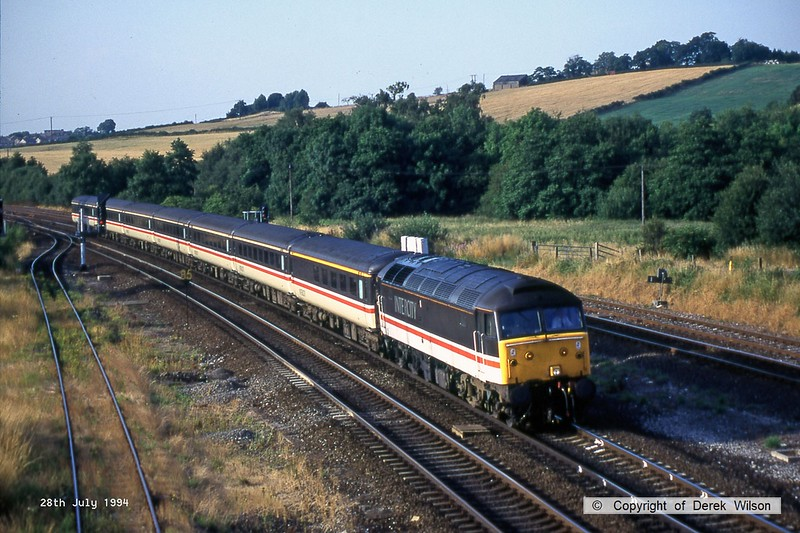 940728-002  Intercity Cross Country class 47/8 No. 47827 speeds past Clay Cross with a southbound express.